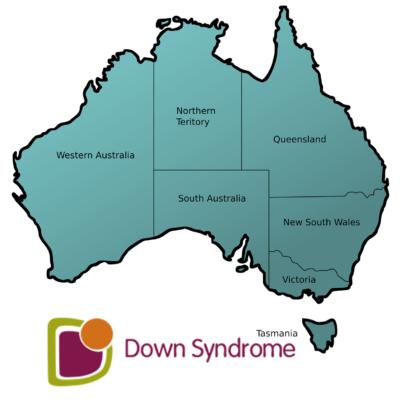 map of Australia with Down syndrome Australia logo