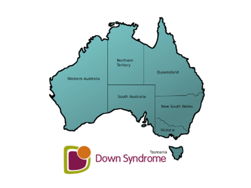 A map of Australia with the logo Down syndrome below it
