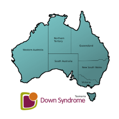 A map of Australia with the Down syndrome logo