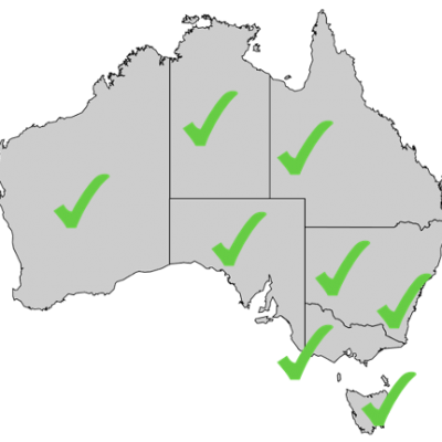 A map of Australia with green checks on all of the states and territories