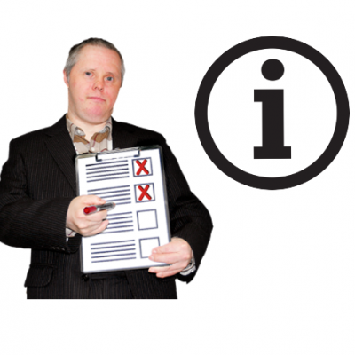 A man holds a checklist next to an information icon