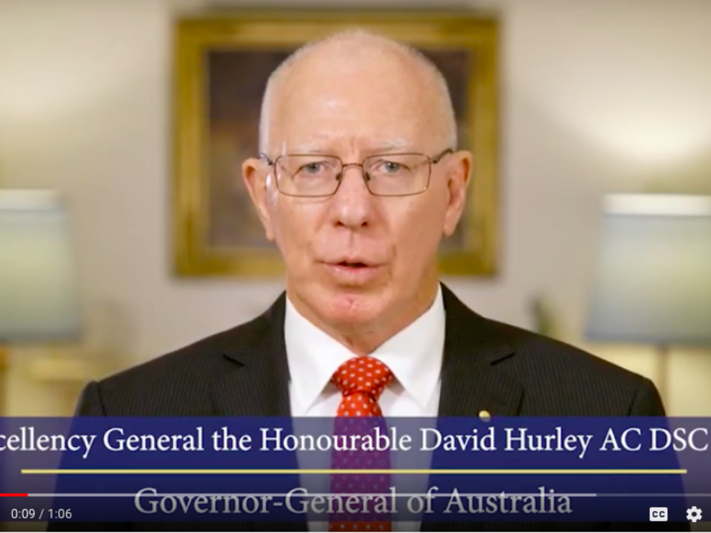A cover image of the Australian Governor-General, giving a speech on World Down Syndrome Day