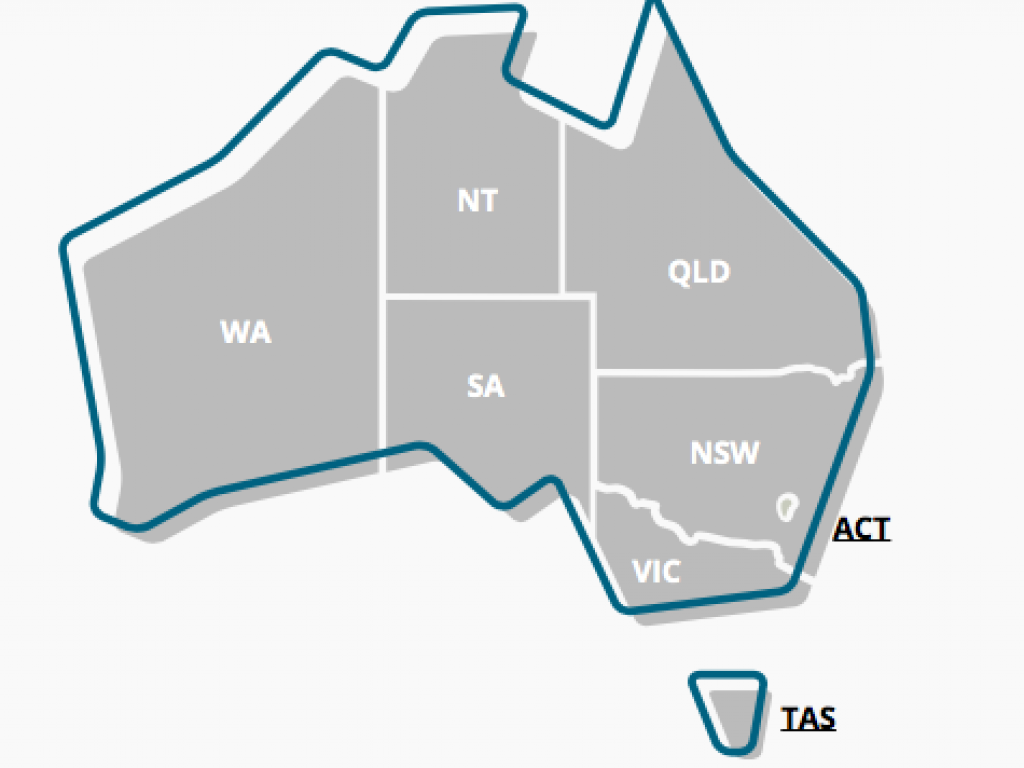 A graphic map of Australia which shows the states and territories