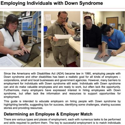 Valued, Able & Ready to Work – Employing Individuals with Down Syndrome