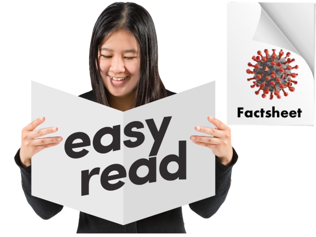 A woman reads a document with the words Easy Read and Factsheet