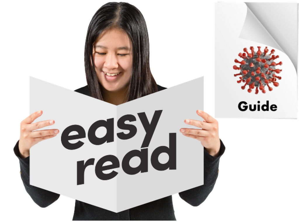 A Woman reads a document with the words Easy Read and Guide
