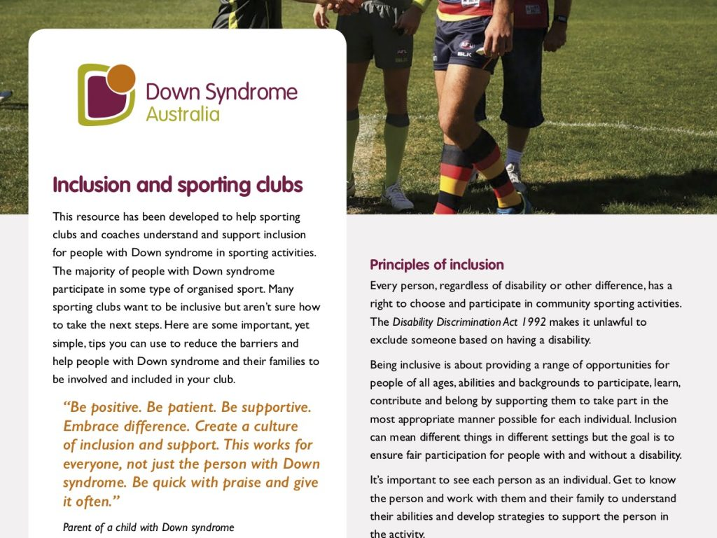 The Cover of the Sports Inclusion factsheet