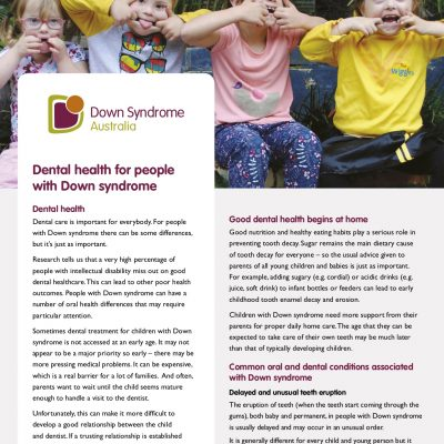 Dental health for people with Down syndrome