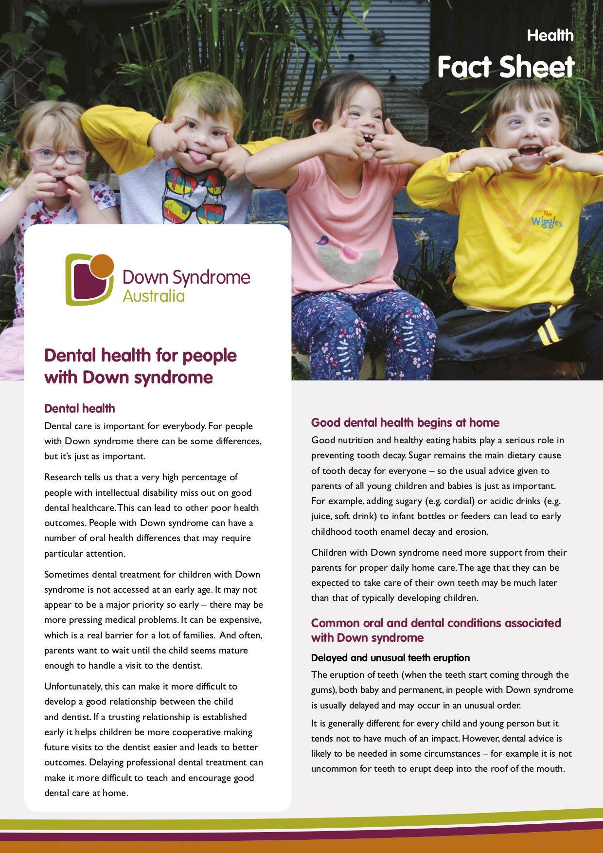 Cover of Dental health for People with Down syndrome