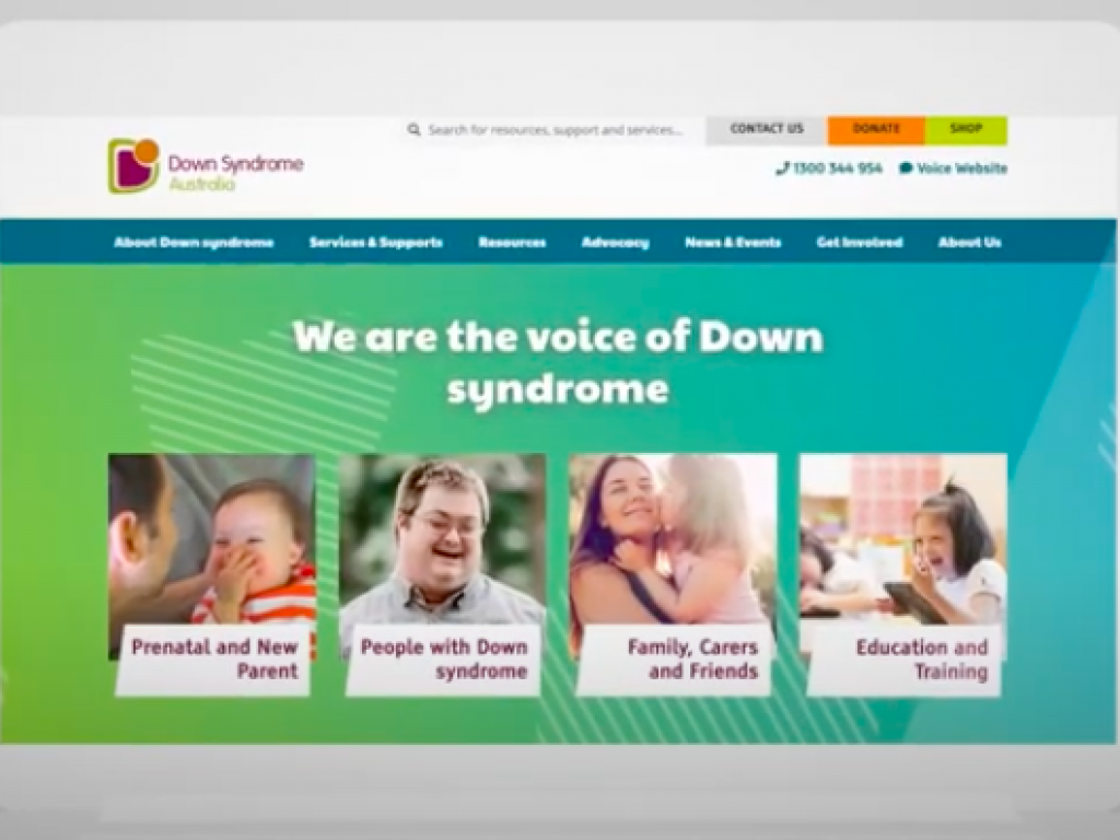 New Down Syndrome Australia website thumbnail.