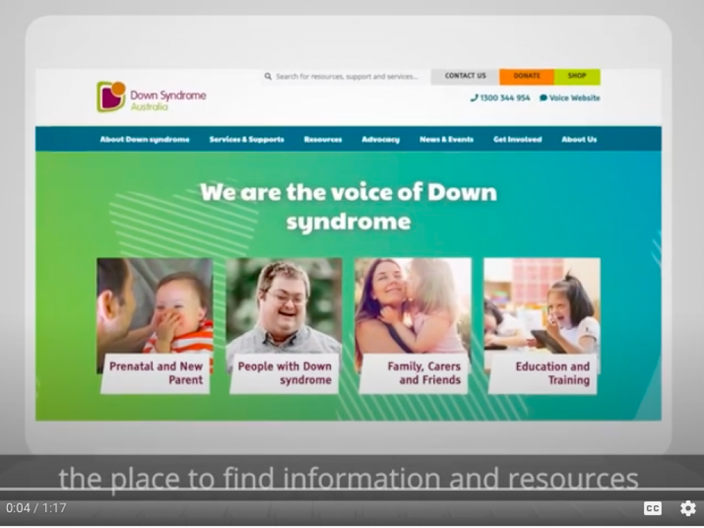 New national Down syndrome website thumbnail.
