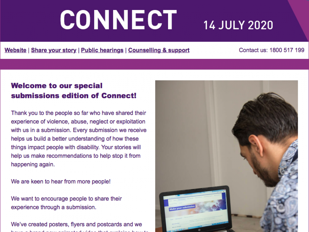 Connect Disability Royal commission Newsletter