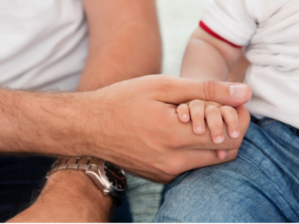Shows an adult hand holding a young child's hand