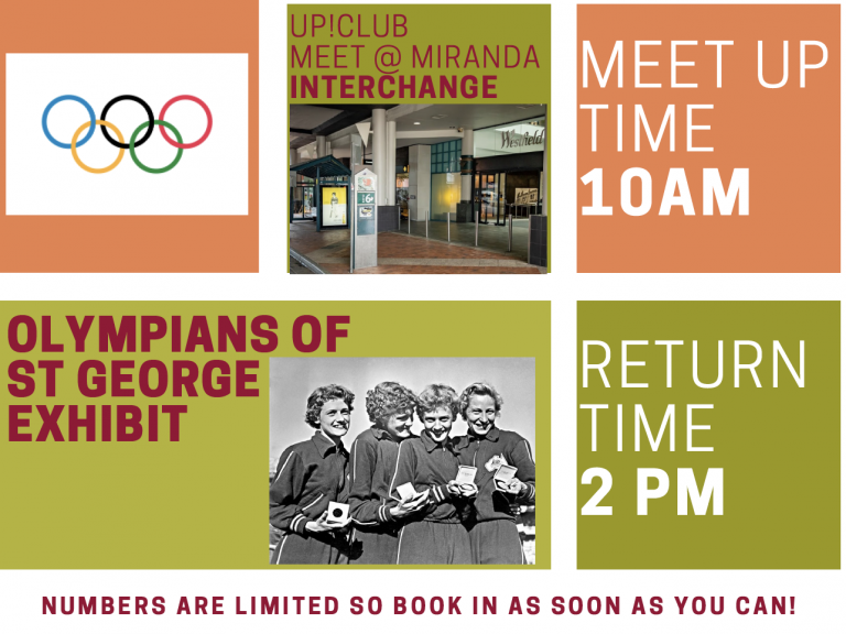Meet up time 10am. Olympians of St George exhibit. Return time 2pm.