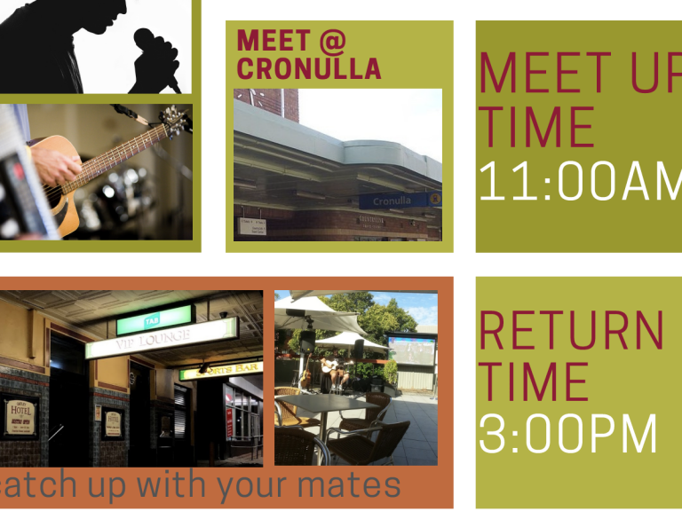 Meet @ Cronulla. Meet up time 11am return time 3pm
